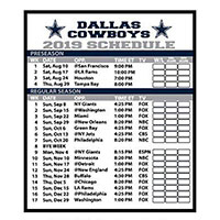 Request your FREE 2019 Dallas Cowboy Football Schedule Magnet