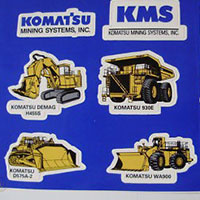 Request Komatsu mining stickers and build your collection