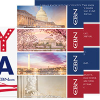 Receive your Let's Pray For America Bumper Sticker and Patriotic Cards