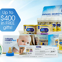 Request FREE Enfamil Baby Formula Samples and win up to $400 in free gifts