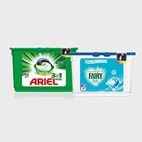 Try for free either Ariel 3 in 1 pods or Fairy non-bio pods