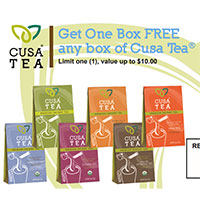 Print a coupon to claim a box of Box of Cusa Tea for FREE